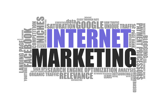 Business internet marketing banner image showing word map