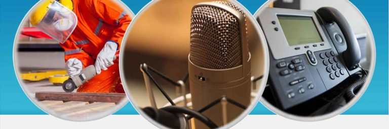 Voice over artist banner showing microphone and telephone use of voice artist