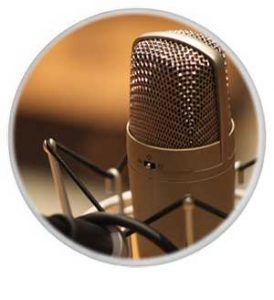 Voice over artist microphone